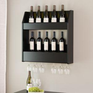 Prepac - Black Altus 2-Tier Floating Wine and Liquor Rack - BSOW-0202-1