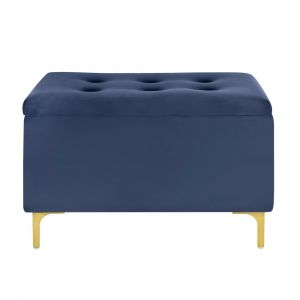 Pulaski - 29 Inch Hinged Top Storage Bench With Grid-Tufted Seat in Navy - DS-D520-901-3