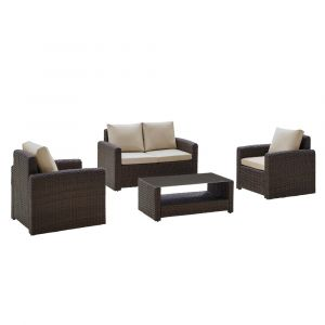 Pulaski - Brown 4 piece Modern Weave Set - 2 Accent Chairs, Loveseat and Table - DS-D319-K2