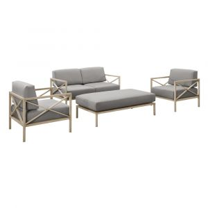 Pulaski - Gray 4pc X Design Metal Base Outdoor Set - Ottoman, 2 Metal chairs and Loveseat - D475-OUT-K1