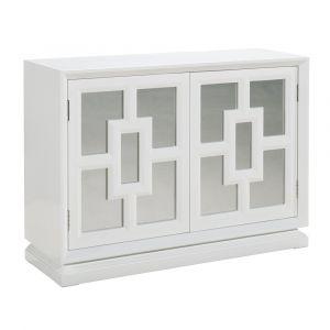 Pulaski - Melanie White Gloss Mirrored Door Wine Cabinet - P020005 - CLOSEOUT