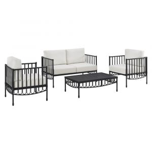 Pulaski - Metal Loveseat, 2 Metal Chairs & Table Outdoor Set in Black w/ Cushions - D477-OUT-K1