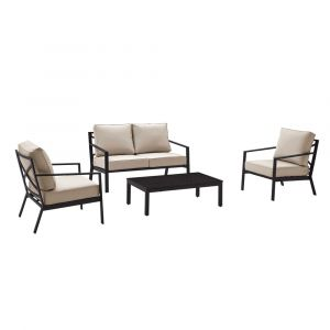 Pulaski - Metal X Back Upholstered 4 Piece Outdoor Entertaining Set in Black / Beige - 2 Accent Chairs, Loveseat and Table - DS-D321-K1
