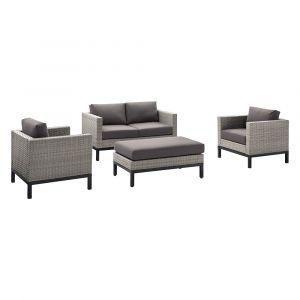 Pulaski - Modern Weave 4 Pc Gray Set - Ottoman, 2 Metal chairs and Loveseat - D323-OUT-K2