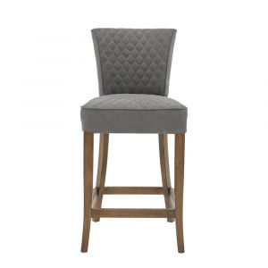 Pulaski - Quilted Gray Counter Stool - DS-D192-500B-502
