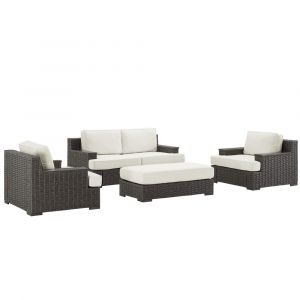 Pulaski - Wicker Base Wood Capped Arm Outdoor Set - Ottoman, Metal Chair and Loveseat - D474-OUT-K1