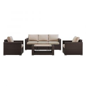 Pulaski - Woven Upholstered 4 Piece Outdoor Entertaining Set in Rustic Brown / Beige - End Table, 2 Accent Chairs and Sofa - DS-D320-K1