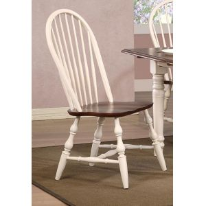 Sunset Trading - Andrews Windsor Spindleback Dining Chair in Antique White with Chestnut Seat (Set of 2) - DLU-C30-AW-2