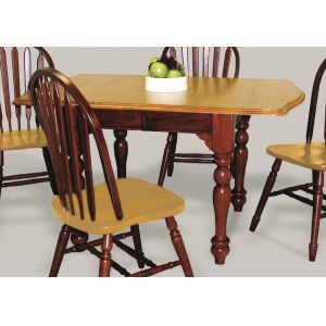 Sunset Trading - Drop Leaf Extension Dining Table in Nutmeg with Light Oak Finish Top - DLU-TDX3472-NLO