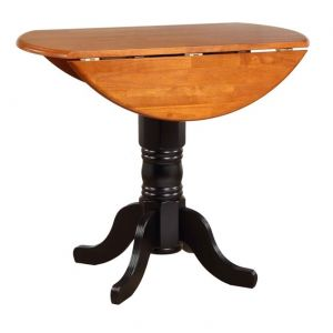 Sunset Trading - Round Drop Leaf Dining Table in Antique Black with Cherry Finish Top - DLU-TPD4242-BCH