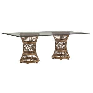 Tommy Bahama Home - Bali Hai Aruba Rectangular Dining Table With 84W x 48D-Inch Glass Top - 01-0593-870-84C