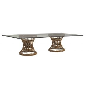 Tommy Bahama Home - Bali Hai Latitude Rectangular Dining Table With 84W x 48D-Inch Glass Top - 01-0593-875-84C