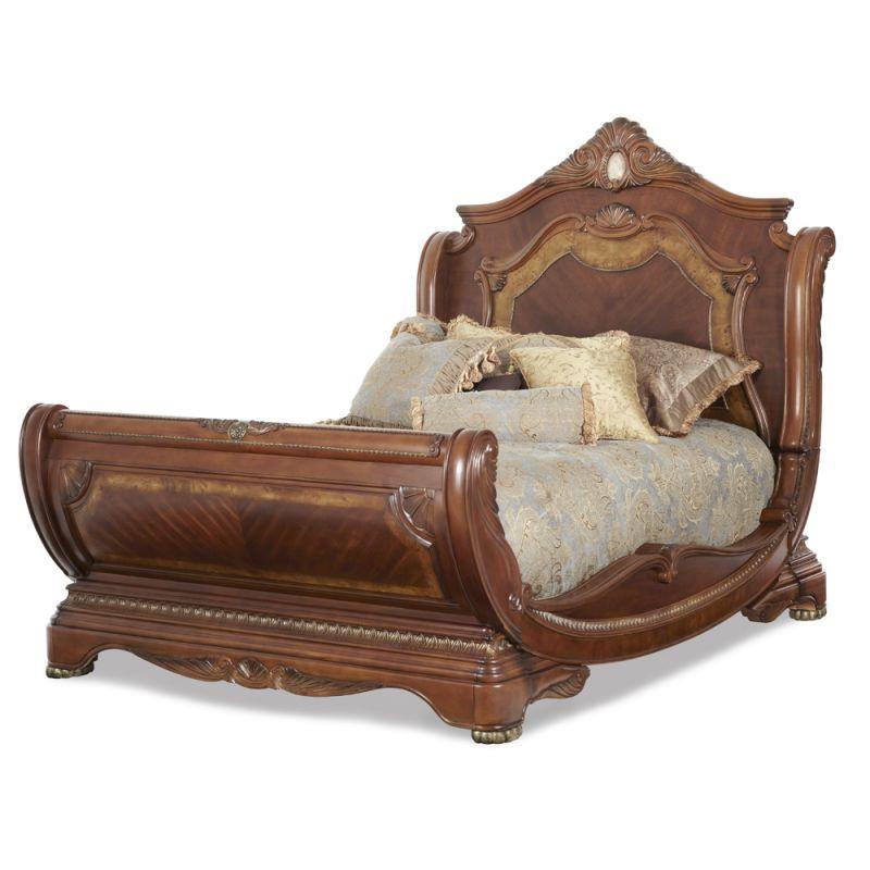 AICO by Michael Amini - Cortina Queen Sleigh Bed in Honey Walnut