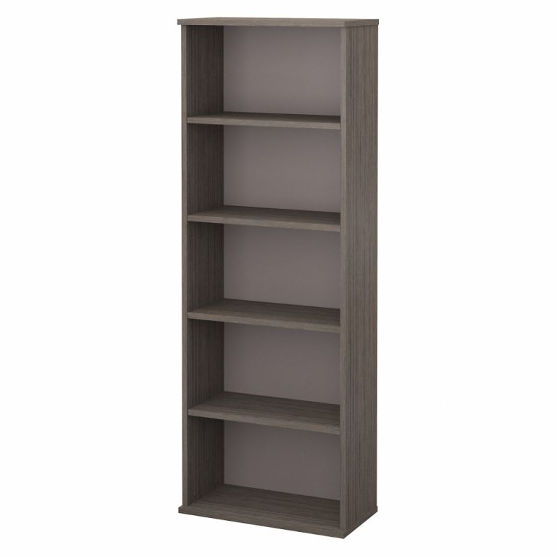 Bush Furniture - Commerce 5 Shelf Bookcase in Cocoa and Pewter - CMB124COP