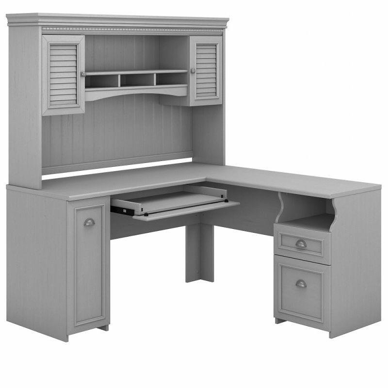 Bush Furniture - Fairview 60W L Shaped Desk with Hutch in Cape Cod Gray - FV004CG