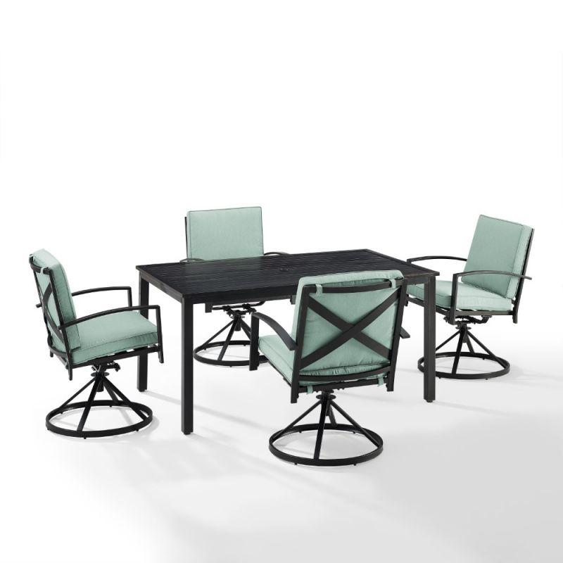 Crosley Furniture - Kaplan 5 Piece Outdoor Dining Set Mist/Oil Rubbed Bronze - Table & 4 Swivel Chairs - KO60021BZ-MI