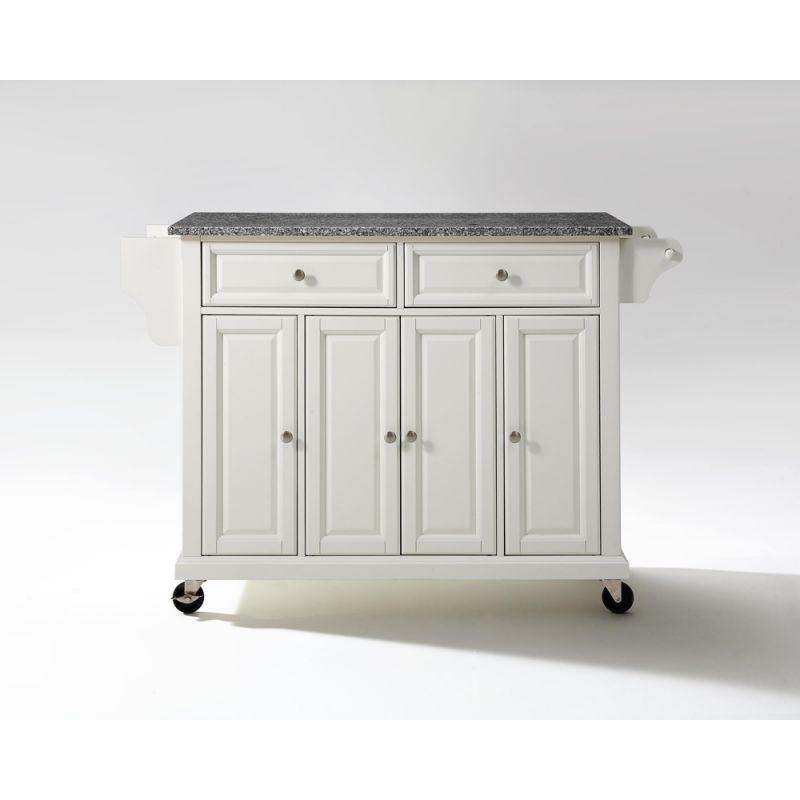 Crosley Furniture Solid Granite Top Kitchen Cart Island In White Finish Kf30003ewh