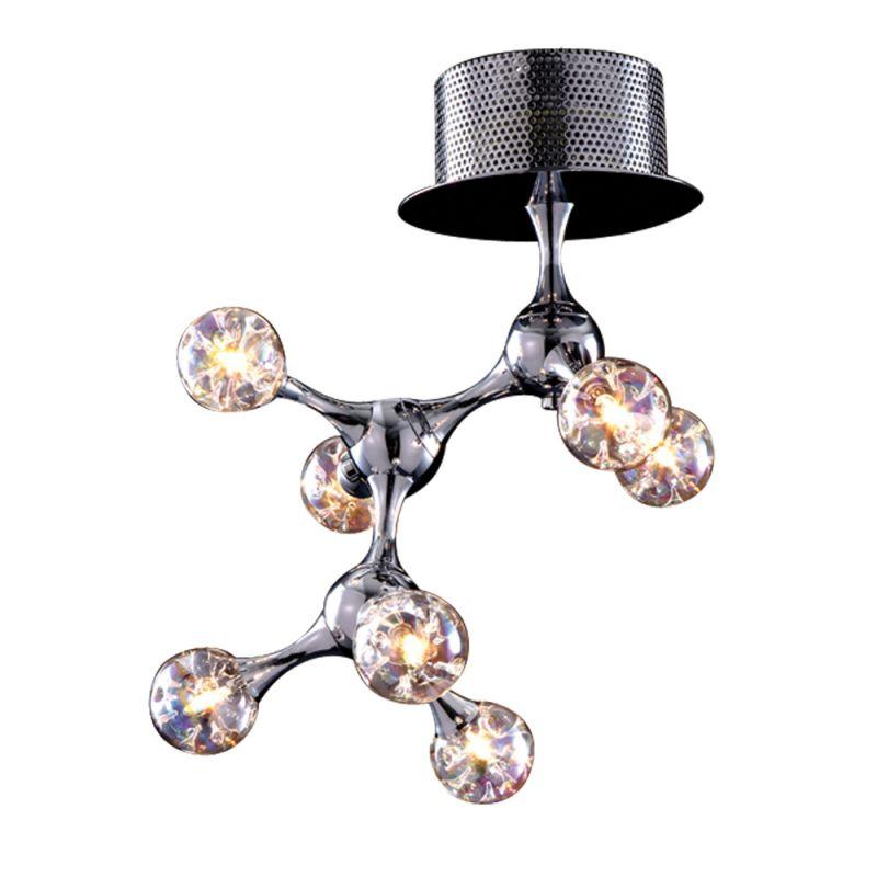 ELK Lighting - Molecular 7 Light Flushmount In Chrome And Iridescent Glass - 30014/7