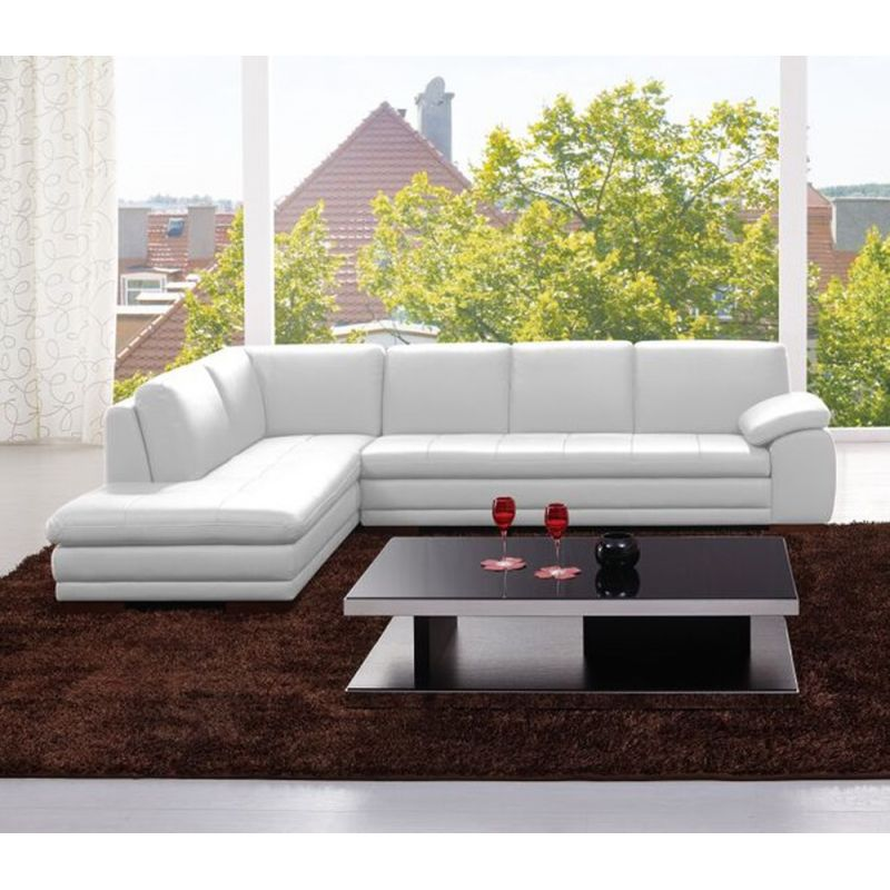 J&M Furniture - 625 Italian Leather Sectional White in Left Hand Facing - 175443113331-LHFC-W