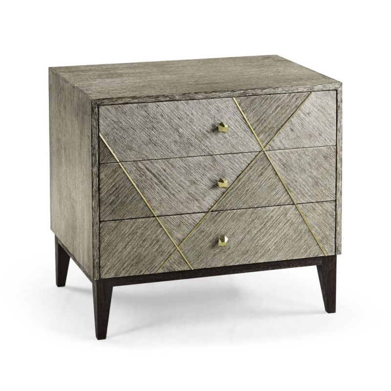 Jonathan Charles Fine Furniture - Geometric - Casual Transitional Dark French Oak Bedside Chest Of Drawers - 500335-DFO