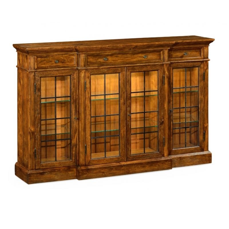 Jonathan Charles Fine Furniture - Casually Country Four Door China Display Cabinet in Country Walnut - 491027-CFW