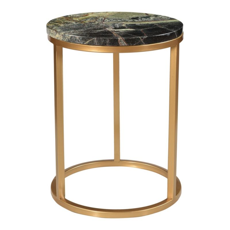 Moe's Home - Canyon Accent Table in Forest Marble Top and Brass Antique - PJ-1019-16