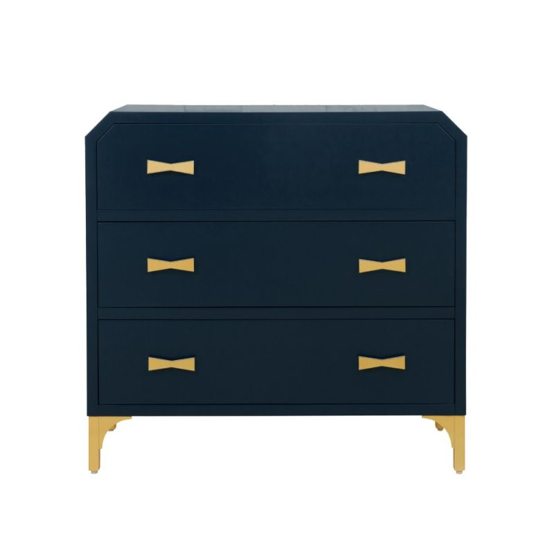 Pulaski - Clip Corner Blue/Gold Three Drawer Chest - DS-D204-049-1