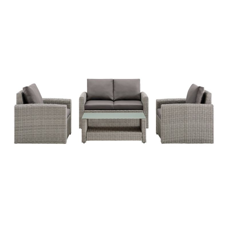 Pulaski - Wicker-Look Upholstered 4 Piece Outdoor Entertaining Set in Cygnet gray - DS-D319-K1