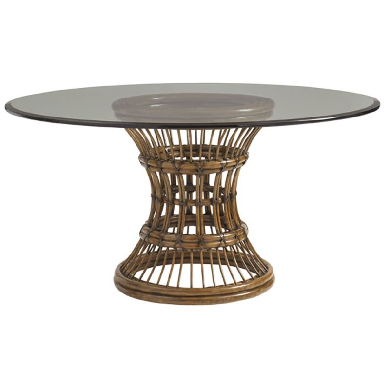Bali Hai Latitude Round Dining Table, Glass Table Top 60 Inch Round