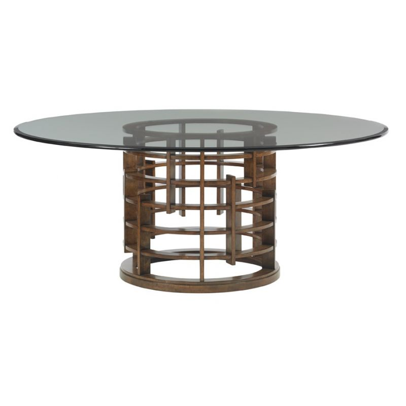Island Fusion Meridian Round Dining, Glass Table Top 60 Inch Round
