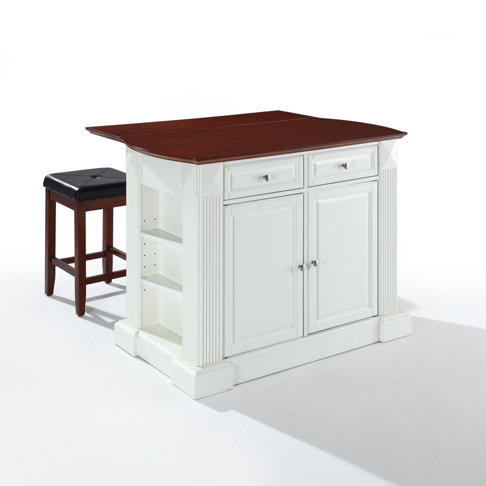 Crosley Furniture Drop Leaf Breakfast Bar Top Kitchen Island In White Finish With 24 Cherry Upholstered Square Seat Stools Kf300075wh