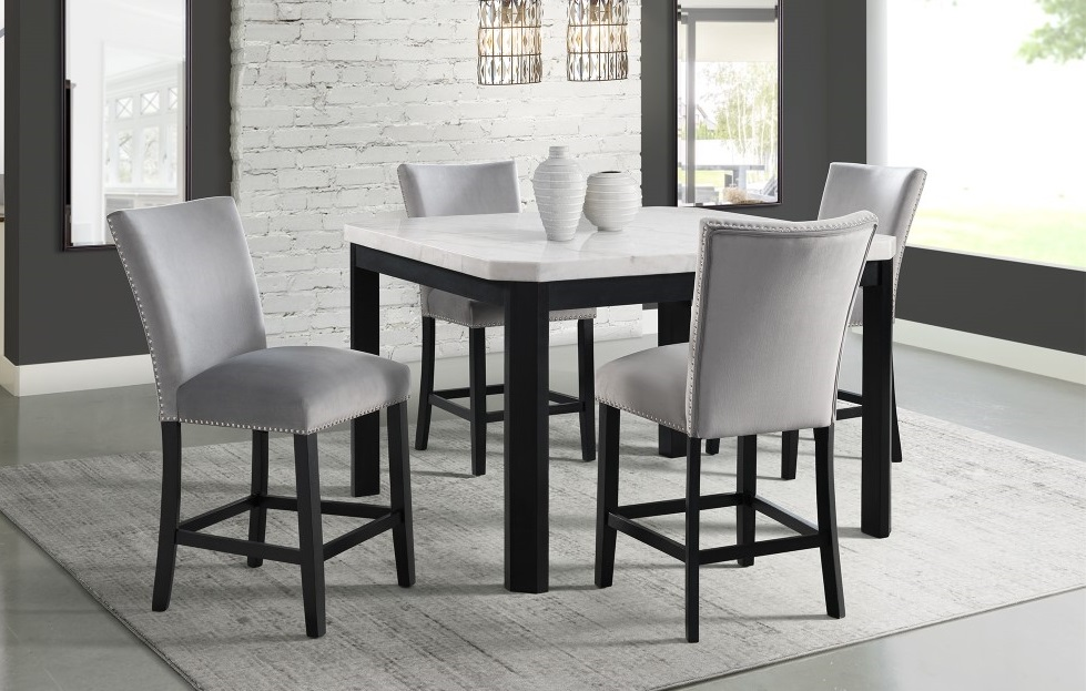 Celine White Marble 5pc Counter Height, Bar Height Dining Room Table