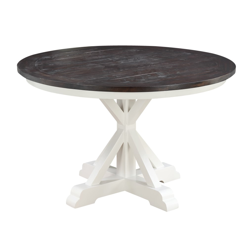 Wallace & Bay   Maddox Dark Bark and Distressed White 9 Round Dining Table  with Round, Plank Style Top And Trestle Base   D9